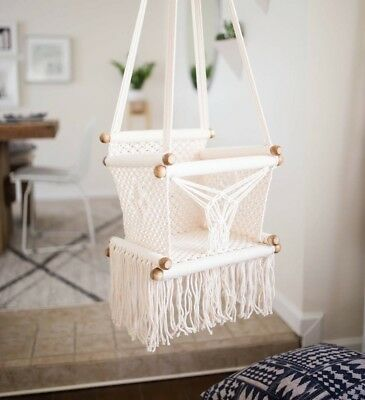 Hanging Macrame Baby Swing Hanging Chair Toddlers Fun BOHO Chair Glide  Sturdy