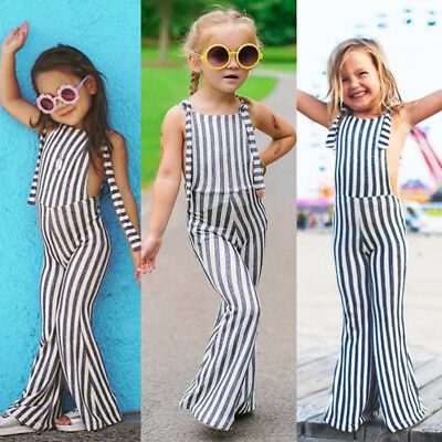 USA Toddler Kids Baby Girls Stripes Brace Pants Overalls Jumpsuit Romper Outfits