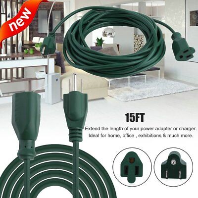 15ft Power Extension Cord Cable 16 AWG Outdoor Home Heavy Duty US Plug Green FG