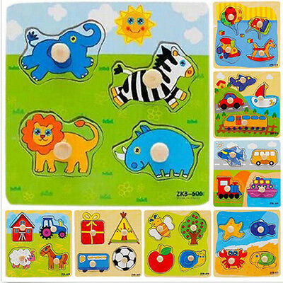 Baby Toddler Intelligence Development Animal Wooden Brick Puzzle Toy Classic LWY