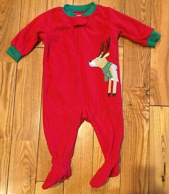 35e3283626 NWT Boys CARTERS Red Soft Fleece Reindeer Christmas Footed Pajamas Size 18M