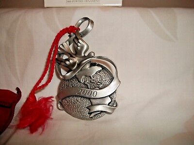 Avon 2000 Holiday Pewter Christmas Ornament Peaceful Millennium Dove And World