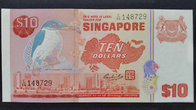 """Singapore""1979 10 Dollar,P-11b""Bird""GEM UNC Banknote""CONSECUTIVE NUMBERS""RAREST"