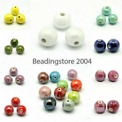 100PC Handmade Porcelain Beads Pearlized Round Loose Beads Craft 10mm Pick Color