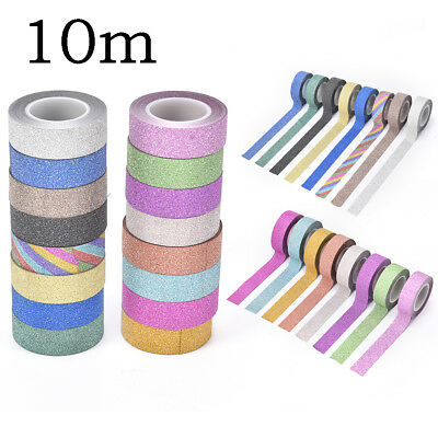 10m glitter washi sticky paper masking adhesive tape label craft decorative BDAU
