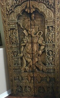 Beautiful antique hand carved Ganesha wood door, wall panel, vintage