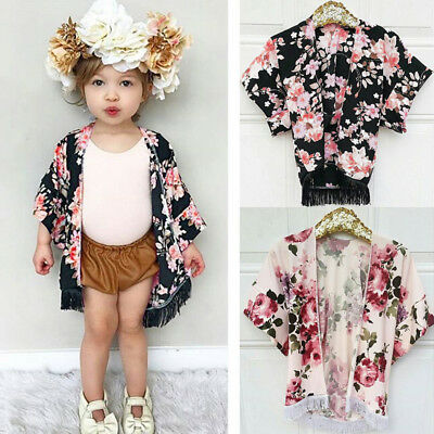 US Stock Kids Baby Girls Floral Cover UP Kimono Cardigan Shawl Outfits Clothes