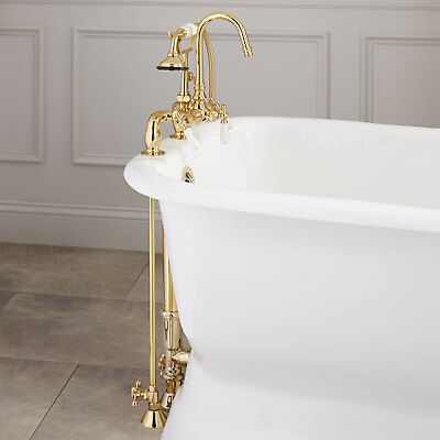 Allister Deck Mount Tub Faucet with Hand Shower Supplies Drain for Threaded Pipe