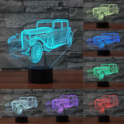 3D VINTAGE CAR LED Night Light Gifts 3D illusion Desk Lamp 7 Changeable Colors