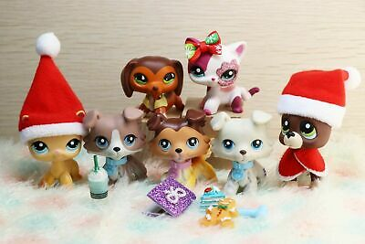 7lot Authentic Littlest Pet Shop Collie Great Dane Short Hair Cat + Aaccesories