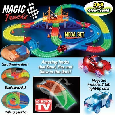 Magic Track Cars Racing Tracks Set Loop Glow in the Dark 360Pcs Race Track Pop