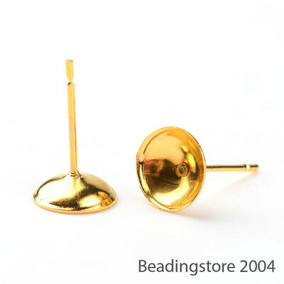 100pcs Gold Plated Iron Cup Earring Posts 8mm Ear Nail Bases Bowl Stud Findings