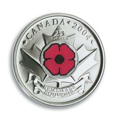 2004 25 Cents Remembrance Poppy Coloured Coin Quarter