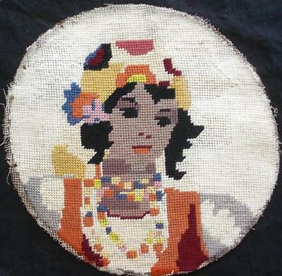 """Vintage  completed wool Needlepoint tapestry . a woman 10""""D"""