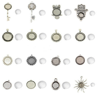 Antique Silver Alloy Pendant Setting Blanks Bezels & Round Glass Covers Tibetan