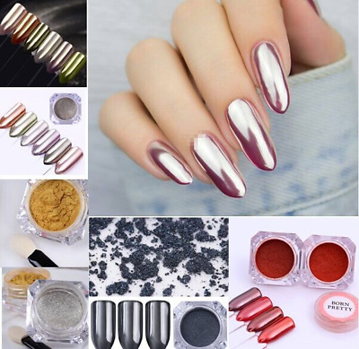 Mirror Nail Powder Dust Chrome Effect Pigment Glitter Black Rose Gold Silver DIY