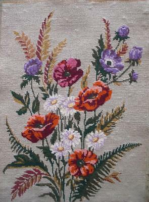 "Complete vintage Royal Paris cotton needlepoint  wild flowers tapestry 20""x14.5"""
