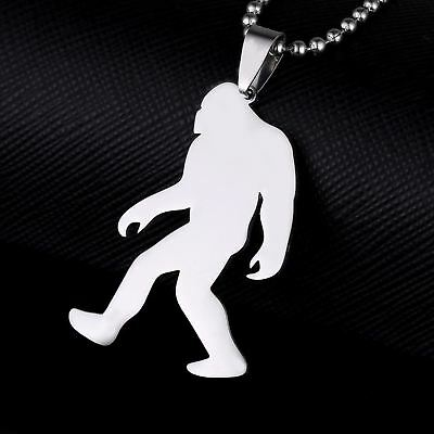 Stainless Steel Yeti Sasquatch Bigfoot Big Foot Monster Skunk Ape Pendant +Chain