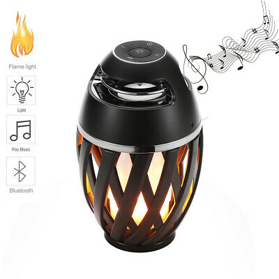Bluetooth 4.2 Music Speaker LED Flame Light Lamp Portable Home Office Camping