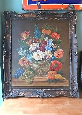 Fine Large Original Oil Painting on Canvas- Flowers/Still Life Signed R Weymann