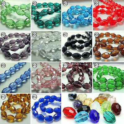 72pcs Mixed Colour Synthetic Crystal Gemstone Oval Shape Loose Beads 4x6mm