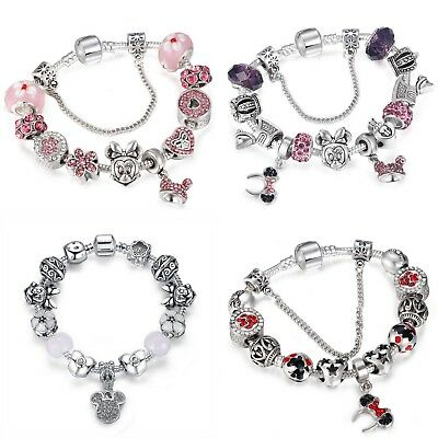 Disney Mickey Minnie Mouse Charms Bracelet Collection cute dangles ~ 6 Designs