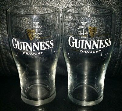 Pair Of Rare Collectable 568Ml Guinness Draught Beer Glasses Good Used Condition