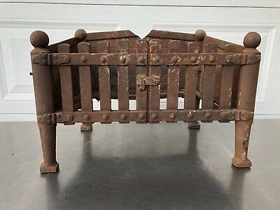 Primitive Antique cast Iron Fireplace Log Holder Coal Basket Weight 34 Pounds