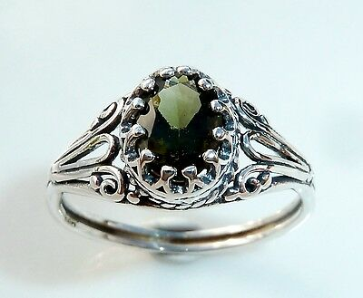 MOLDAVITE RING with BALI SETTING + CERTIFICATE - Sterling Silver- Size 7 or 8