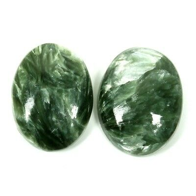 Excellent Real 15x12 mm SERAPHINITE Oval Cabochon 1 Pair Gemstone 12 Cts S-31111