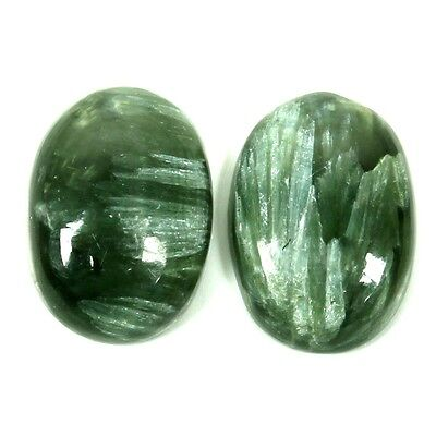 9 Cts Natural SERAPHINITE Oval Pair Cabochon Gemstone 14x10 mm Wholesale S-31096