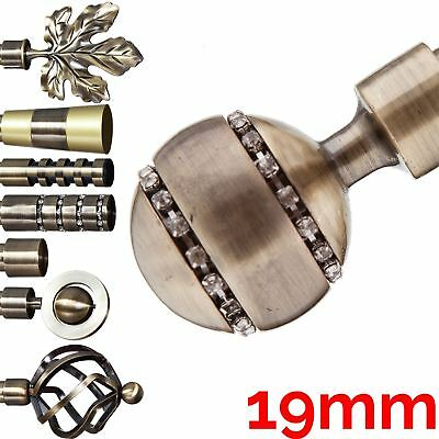 Metal Curtain Pole Finials / Ends For 19mm Pole, Antique Brass P2
