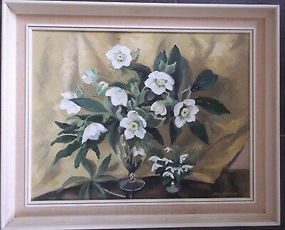 FRAMED OIL ON CANVAS PAINTING signed JOAN HADFIELD A STILL LIFE OF WHITE FLOWERS