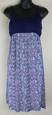 Bump In The Night Womens Maternity Nusing Purple Blue Night Gown Small