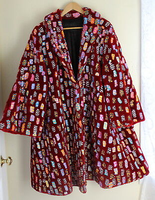 UNREAL Lon Michels RED Sheared Beaver Painted Fur Coat Fiber Art-to-Wear 1X 2X