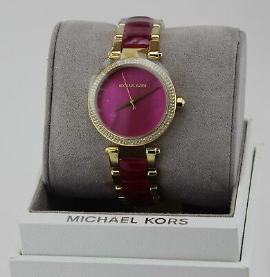 New Authentic Michael Kors Parker Gold Fuchsia Crystals Women's Mk6490 Watch