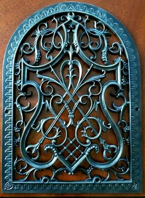 """1870's Ornamental Salvaged Gothic Tombstone Reburbished Register Vent 18"""" X 13"""""""
