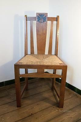 E G PUNNETT for William Birch Oak Rush Seated Side Chair Arts and Crafts c.1900