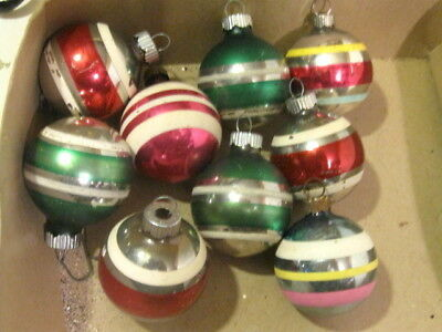 "9 Vintage Shiny Brite 1.75"" Striped Christmas Balls. 1.75"" diameter glass"