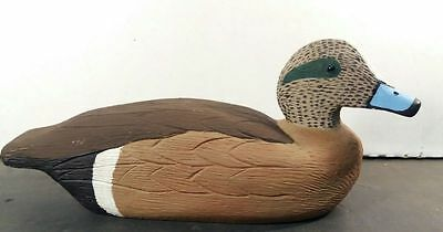 HAND CARVED Wooden DECORATIVE Blue Billed DUCK DECOY Sculpture SIGNED GLASS EYES
