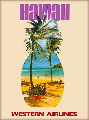 Hawaii Western Airlines United States Vintage Travel Advertisement Art Poster