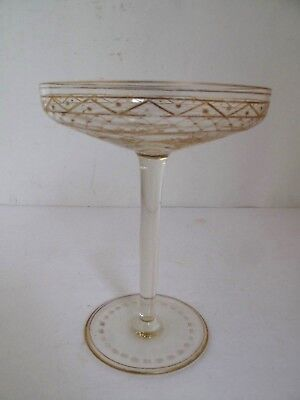 Antique French Gilded and Engraved  Crystal Compote