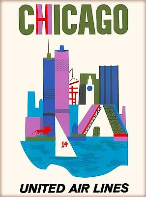 Chicago Illinois United Air Lines Vintage Airline Travel Advertisement Poster