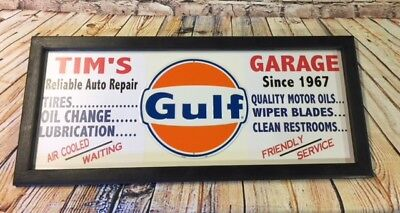 Personalized Vintage Style Filling Station Gas & Oil Sign w/ Gulf tin