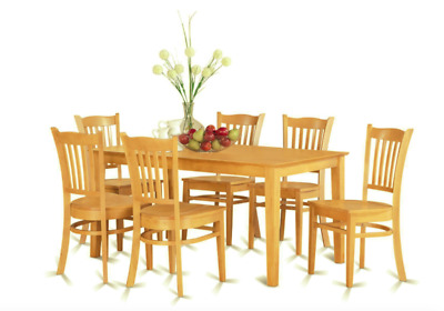 Solid Wood Modern 7 Piece Oak Dining Room Kitchen Table Set Chairs Sets New