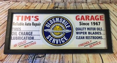 Personalized Vintage Style Garage Station Car Gas & Oil Sign w/ Oldsmobile tin