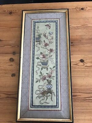Antique Chinese Embroidery Forbidden Stitch Silk Butterflies Panel Scholars Vase