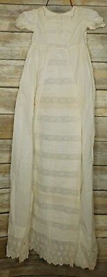 ANTIQUE 1800s VICTORIAN LONG LACY SMOCKED INFANT CHRISTENING DRESS Embroidered