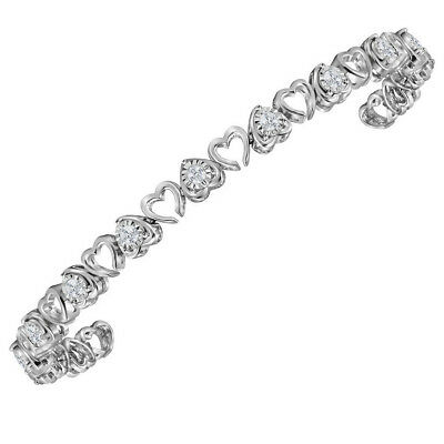Sterling Silver Womens Round Diamond Heart Love Tennis Bracelet 1 Cttw