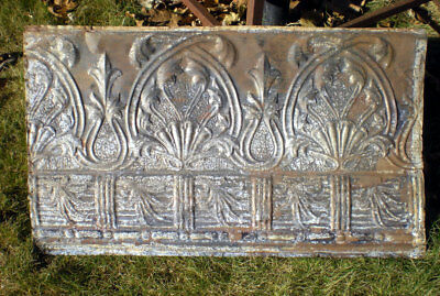 SALE Antique Victorian Gothic Arched Ceiling Tin Tile Shabby Chic Cottage Canvas